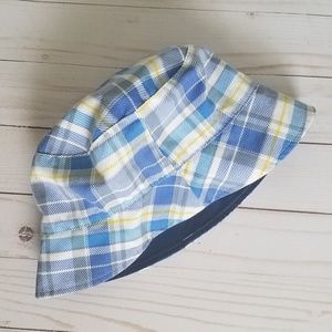 Other - Reversible Blue & Yellow Plaid Toddler Sun Hat